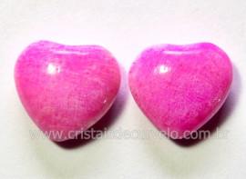 Par Coração Pedra Amazonita Rosa Natural Pra Brinco Reff CB1835