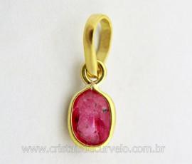 Pingente Ouro 18ct Ponto de Luz Gema Facetado Oval Pedra Turmalina Rosa REEF 0.227