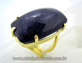 Anel Pedra Estrela Azul Retangular Cabochão Pedra Natural Montagem Banho Flash Dourado Aro Ajustavel