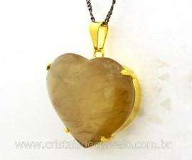Pingente Extra Coração Pedra CITRINO NATURAL Montagem Garra Dourado