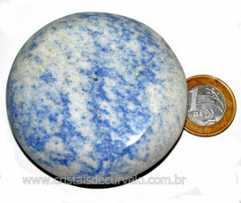 Massageador Disco Quartzo Azul Pedra Natural Cod 103323