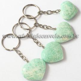 Chaveiro Coração Amazonita Verde Pedra da Cura Reff 112896