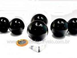 01 Esfera Obsidiana Negra Pedra Lava Vulcânica Tamanho REFF 5CM