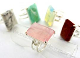5 Anel Pedras Mistas Prata 950 Aro Ajustavel ATACADO Reff AP6303