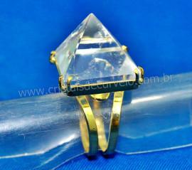 Anel Piramide Pedra Cristal Natural Dourado Ajustavel AC7480