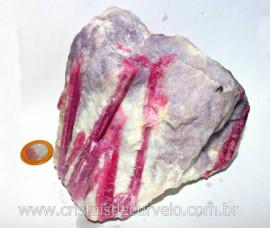 Turmalina Vermelha ou Rosa Pedra Grande Canudos Perfeitos Na Matriz Cod 1.931