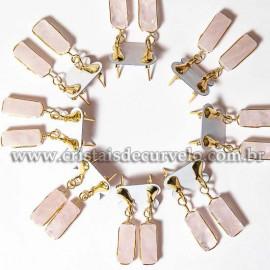 05 Brinco Pedra Quartzo Rosa Retangulo Ranhurado Dourado ATACADO