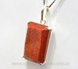 Pingente Facetado Pedra do Sol Prata 950 Caixinha Garra Reforçado REFF 26.1
