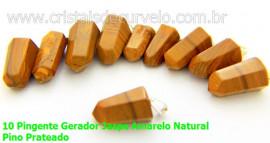 10 Pingente Pontinha Atacado Pedra Jaspe Amarelo Presilha e Pino Prateado