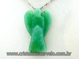Anjinho Pingente Pedra Aventurina Verde Anjo Cristal Verde Montagem Prateado