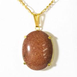Pingente Extra Cabochao Pedra do Sol Gold Stone Montagem Garra Dourado