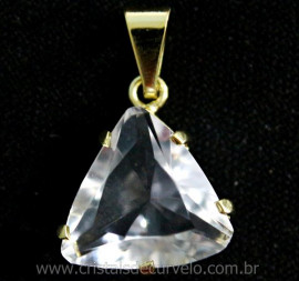 Pingente Trillion Pedra Cristal Cachinha e Garras Reforçado Banho Flash Dourado REF 14.9