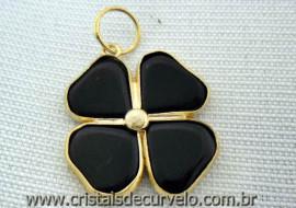 Pingente Trevo da Sorte Onix Preto 04 Folhas Dourado Reff 207906