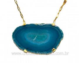 Colar Chapa de Agata Azul Montagem Horizontal Dourado CA8724