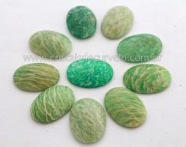 10 Cabochao Oval pra Pingente Pedra Amazonita Verde Lapidado Calibrado 18 x 25 MM