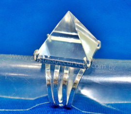 Anel Piramide Pedra Cristal Natural Prata 950 Ajustavel AC5621