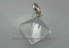 Pingente PIRAMIDE Prata 950 Pedra Cristal Extra Lapidação Facetado Manual