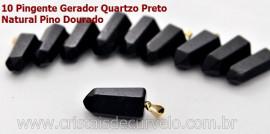 10 Pingente Masculino Pontinha  Quartzo Preto Presilha e Pino Dourado ATACADO