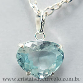 Pingente Coração Facetado Topazio Azul Prata 950 Garra 112473