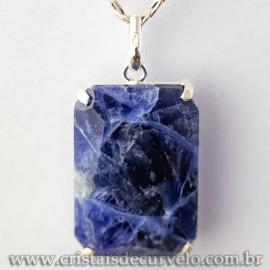 Pingente Gema Facetado Pedra Sodalita Garra na Prata 950 113043