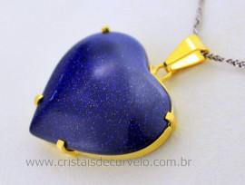 Pingente Extra Coração Pedra Estrela Azul Montagem Garra Dourado