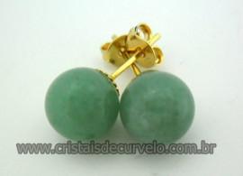 Brinco Bolinha Pedra Aventurina Verde Pino Tarracha Banho Ouro Flasch Dourado