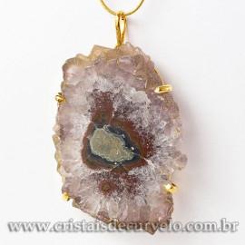 Pingente Flor de Ametista Pedra Natural Garra Dourado 112924