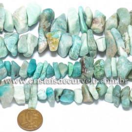 Fio Amazonita Verde Pedra Rolado Furado 50cm Para Fazer Pulseira