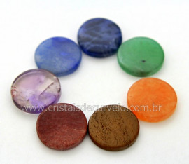 10 Kits Chakras Pedras Lapidado Disco Pequeno Kundalini Stone ATACADO