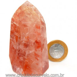 Ponta Cristal Hematoide Pedra com Rajas Vermelhas Cod 109537