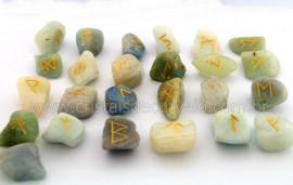 Jogo de Runas Alfabeto Antiga Europa Viking 25 Pedras Natural Agua Marinha