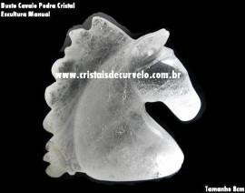 Cavalo Esculpido na Pedra Cristal de Quartzo Arte no Cristal