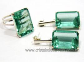 Conjunto Anel e Brinco Retângulo Facetado Pedra Obsidiana Verde Montagem na Garra Prata 950 Reff CP6614