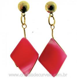 Brinco Pedra Navete Agata Rosa Acabamento Folha e Tarracha Banho Ouro Flash Dourado