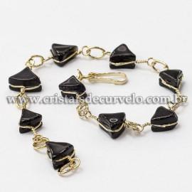 05 Pulseira Trillion Ranhurado Obsidiana Negra Dourado ATACADO