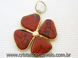 Pingente Trevo Jaspe Vermelho Pedra Natural Envolto Banho Dourado