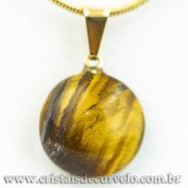 Mini Pingente Disco Olho de Tigre Pedra Natural Pino Dourado