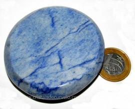 Massageador Disco Quartzo Azul Pedra Natural Cod 103310