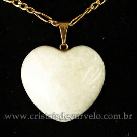 Pingente Coraçao Feldspato Branco Pedra Natural Pino Dourado