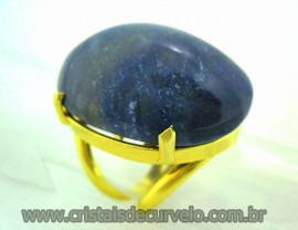 Anel Quartzo Azul Cabochão Oval Pedra Natural Montagem Banho Flash Dourado Aro Ajustavel