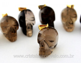Pingente Caveira ou Cranio de Pedra Fume Natural Montagem Dourada