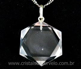Estrela de Davi Pingente Pedra Cristal Montagem Pino e Perinha Prata 950