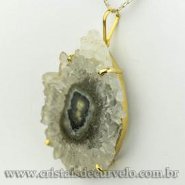 Pingente Flor de Ametista Pedra Natural Garra Dourado 120606