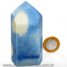 Ponta Quartzo Azul Pedra Natural Gerador Sextavado Cod 113473
