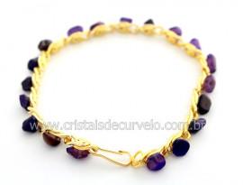 Pulseira Pedra Agata Lilas Colada Corrente Dourado PC2643