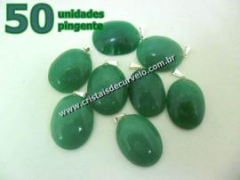 50 Pingente Cabochão QUARTZO VERDE Pedra Natural Castoação Pino Banhado Prata