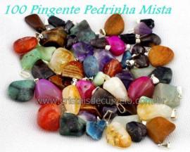 100 Pingente Pedra MISTO Pedrinha Rolado Pino Argola Flash Ouro  ATACADO
