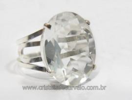 Anel Especial Cristal Cabochão Facetado na Garra Prata 950 Reff AP4202