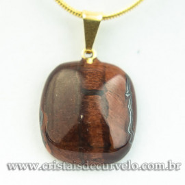 Mini Pingente Retangular Pedra Olho de Tigre Indiano Pino Dourado