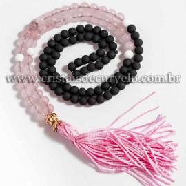 Japamala Pedra Quartzo Rosa Bolinha Preta Fosca 6mm 108 Contas